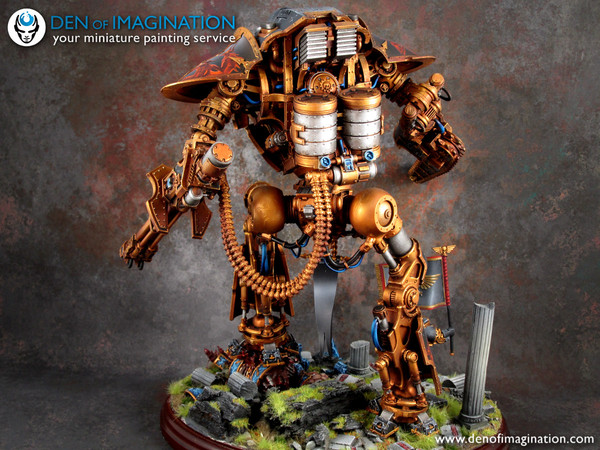 Imperial Knight Diorama Warhammer 40k, wh miniatures, Imperial knight, покраска, Den of Imagination, длиннопост
