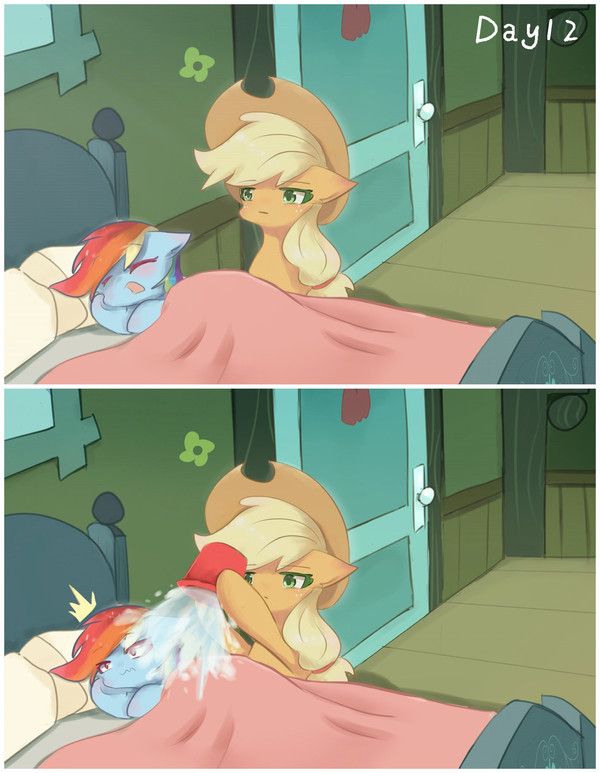 How to wake a pony up in summer My Little Pony, Комиксы, AppleJack, Rainbow Dash