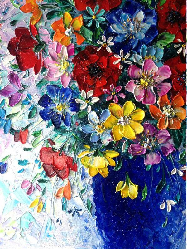 Моя мастихиновая живопись) картина, картина маслом, мастихин, цветы, Живопись, длиннопост