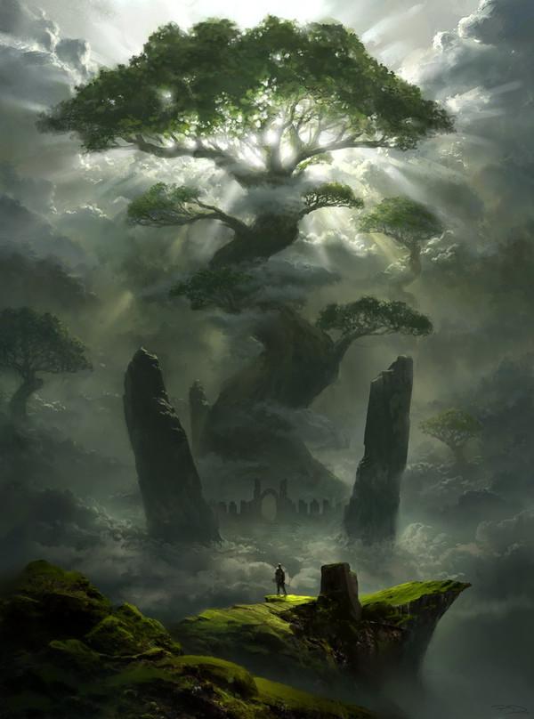 Одиночество. Одиночество, дерево, Небо, солнце, 2d digital, Fantasy, арт