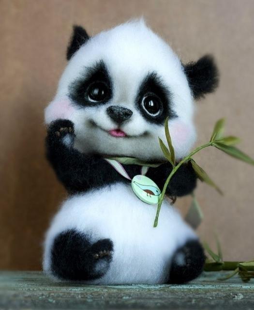 Панда из войлока панда, игрушка из войлока, войлок, красивое