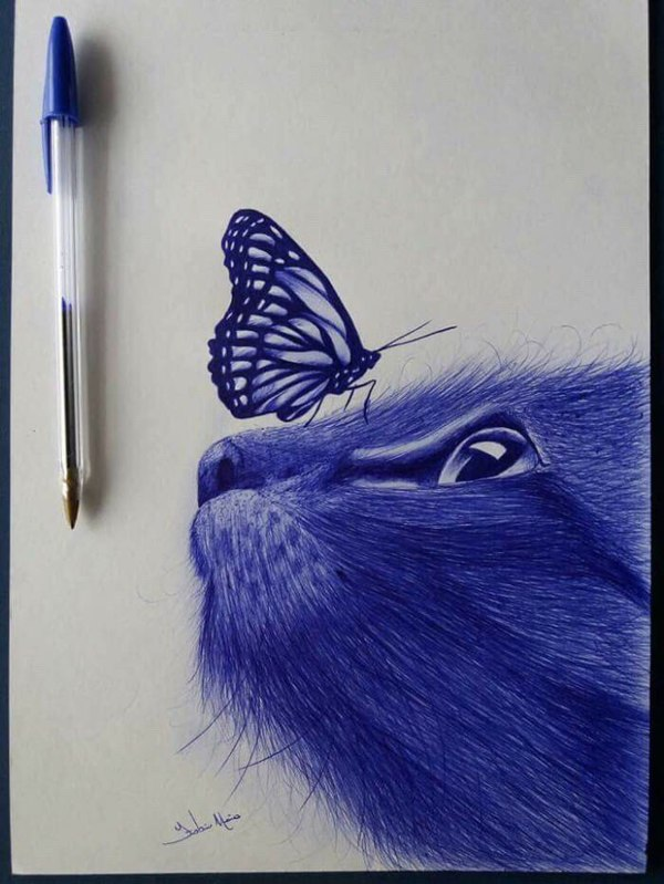 Ручка бабочка кошка