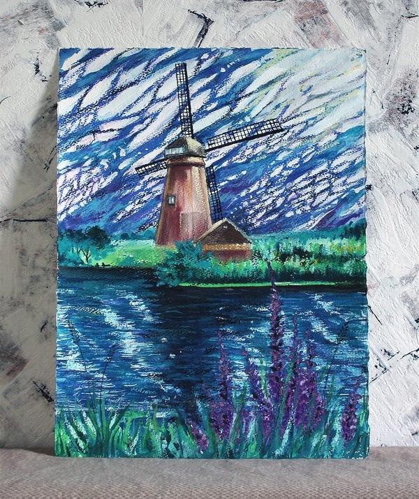 Мельница Живопись, арт, акварель, масляная пастель, пейзаж, мельница, облака, Озеро, длиннопост