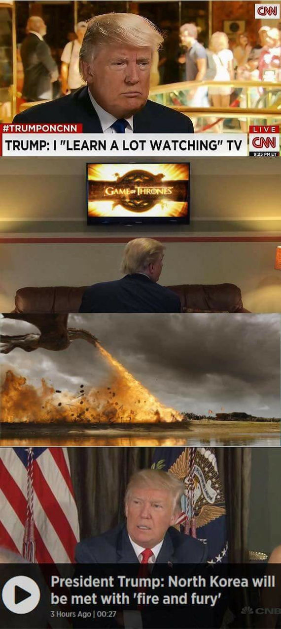 Я многому научился смотря телевизор Игра престолов, Трамп, Телевидение, Северная корея, Дейенерис Таргариен, 9gag, Дракон, Спойлер