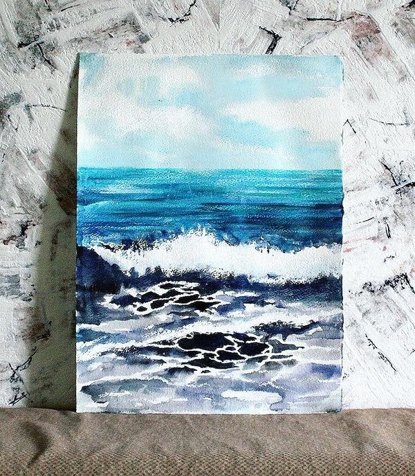 Шум морских волн Живопись, акварель, арт, море, волна, пейзаж