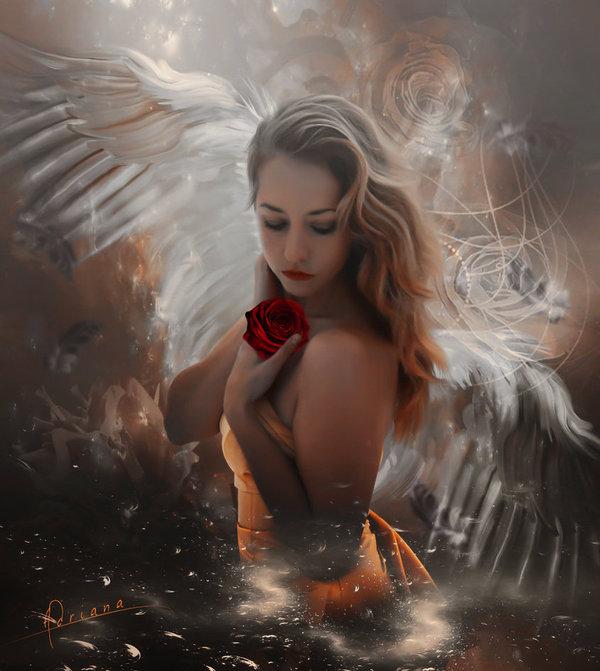 The sadness of the angel DeviantArt, Арт, цифровой рисунок, фотоманипуляции