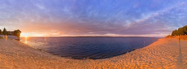 Закат на Чебоксарском пляже закат, пляж, Чебоксары, Чувашия, длиннопост