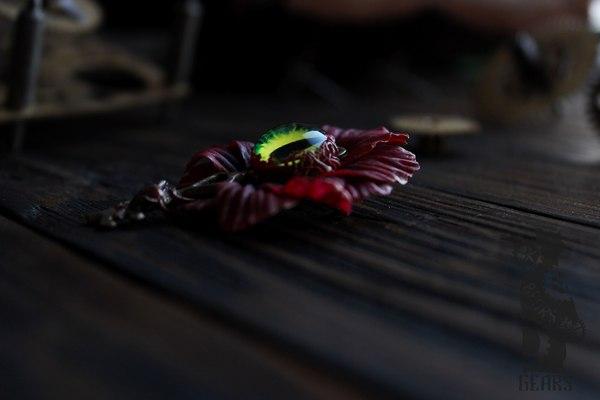 Глазасто-цветастая брошь полимерная глина, handmade, рукоделие без процесса, цветок, брошь, длиннопост
