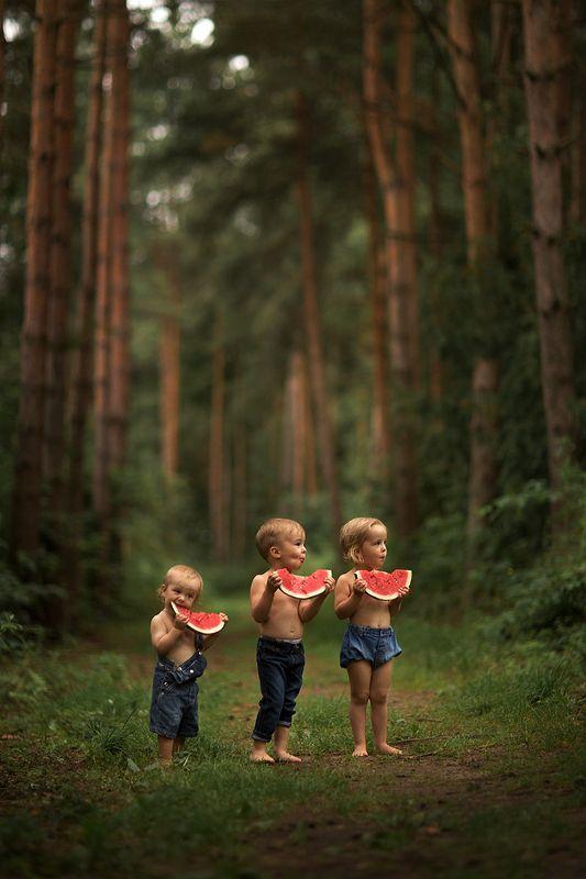 Арбузное фотография, арбуз, дети, детское фото, современные дети