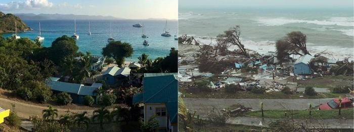 """До и после урагана """"Ирма""""."""
