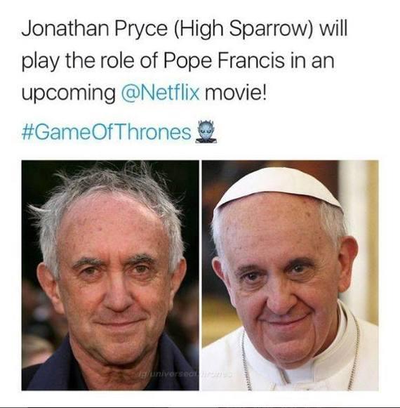 Его Святейшеством станет Его Воробейшество Игра престолов, Его воробейшество, Папа римский, Джонатан Прайс