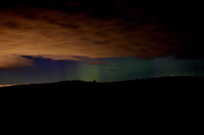 Северное сияние на юге Красноярского края Северное сияние, Красноярск, Лесосибирск, Небо, Магнитная буря, Длиннопост