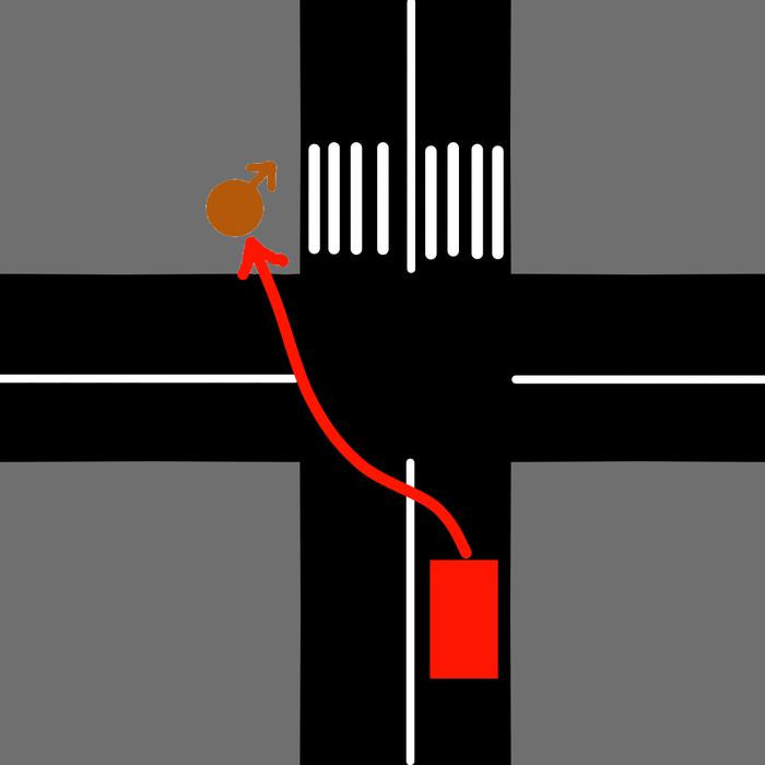 Пара физико-математических задач ДТП, Пешеход, Длиннопост