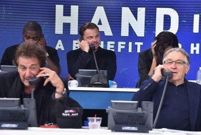 """Голливудские звезды добровольно вызвались помочь собрать пожертвования пострадавшим от урагана """"Ирма"""". Леонардо ди Каприо, Роберт Де Ниро, Аль Пачино, Ирма, Добровольцы, Благотворительность"""
