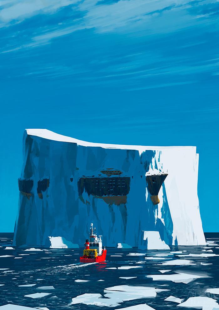 Мы его нашли! Находка, Корабль, Айсберг, Льдина, Затонувшие корабли, Арт