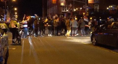 Канадцы дико что-то празднуют на улице Канадцы, Дорога, Красный свет, Гифка