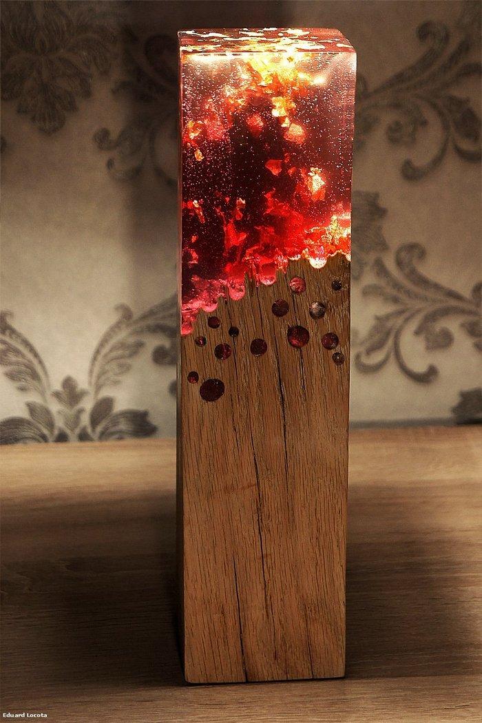 Деревянный светильник с акриловым стеклом