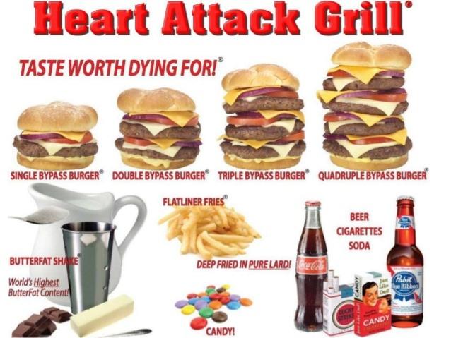 """Ресторан, в котором посетителям весом более 160 кг причитается скидка. Вредная еда - всегда! Циничный ресторан """"Гриль сердечного приступа"""" Ресторан, Кухня, Еда, Вредная пища, Интересный концепт, Нестандартный подход, Честный пиар, Фастфуд, Длиннопост"""