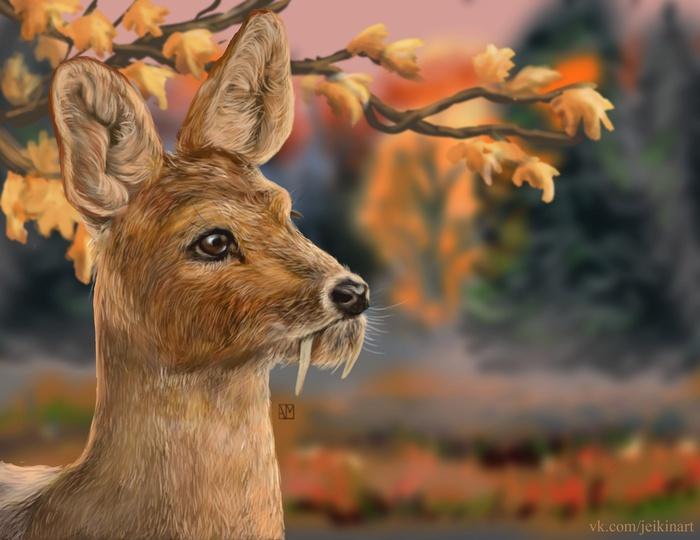 Осенняя кабарга. Рисунок, Цифровой рисунок, Кабарга, Олень, Вампиры, Творчество