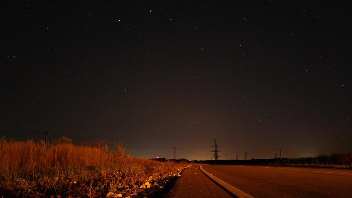 Сентябрьская ночь в Подмосковье Подмосковье, Ночь, Звёзды, Природа, Небо, Воздух, Дорога, Линии