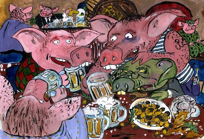 Пивные свиньи Пиво, Свинья, Пятница, Рисунок, Картина, Гуашь