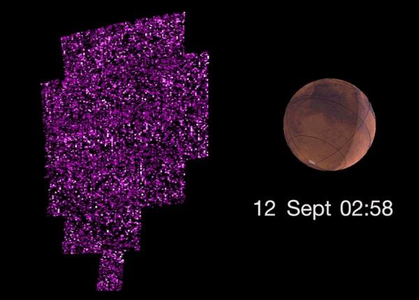 Солнечная вспышка заставила Марс светиться Наука, Новости, Астрономия, Космос, Марс, Вспышка, Гифка
