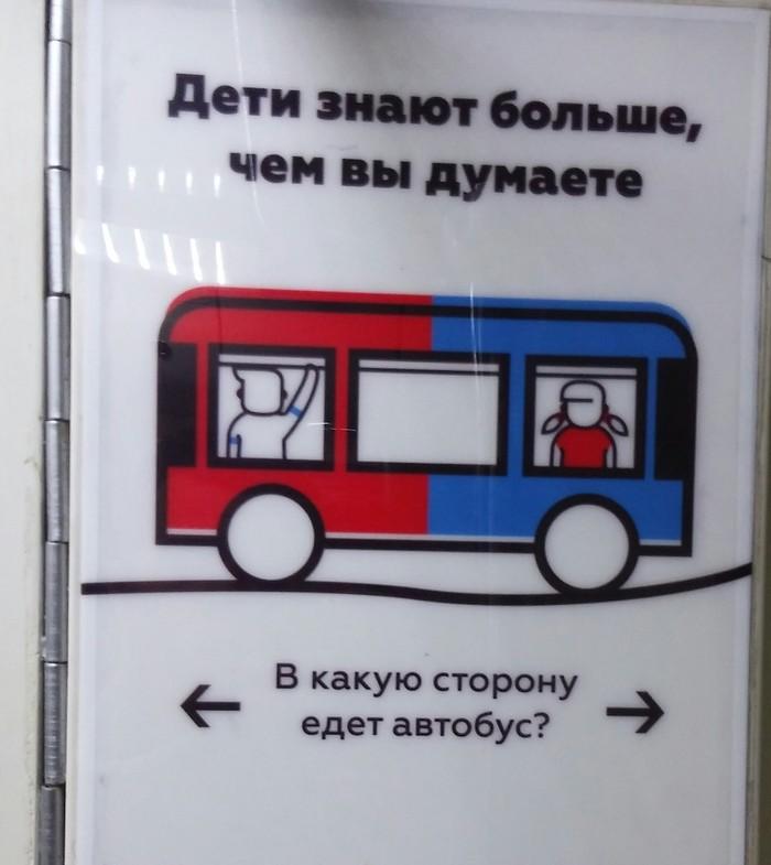 В какую сторону едет автобус ? Загадка, Картинка с текстом