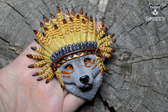 Волки-вожди Полимерная глина, Ручная работа, Волк, Индейцы, Вождь, Кулон, Handmade, Длиннопост