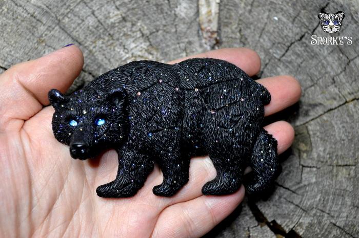 Большая медведица) Полимерная глина, Ручная работа, Медведь, Большая медведица, Звездное небо, Брошь, Созвездие Ориона
