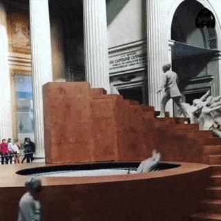 Перфоманс в Париже. Лестница Пенроуза, Батут, Перфоманс, Гифка