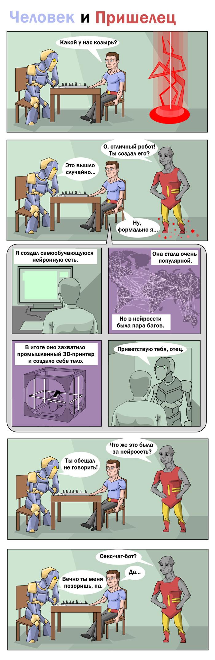 Робот Комиксы, Мини-Комикс, Робот, Человек, Пришелец, Длиннопост