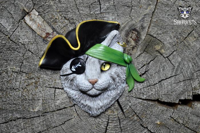 Аррр!! Коты пираты) Полимерная глина, Ручная работа, Кот, Пираты, Кулон, Длиннопост