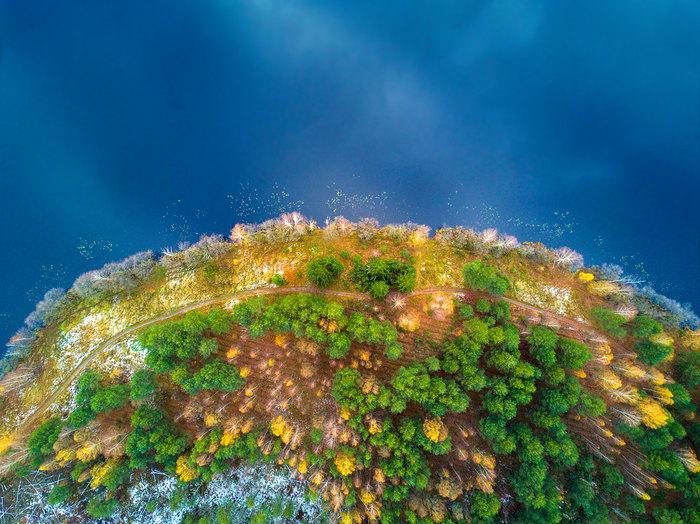Полуостров, вид сверху Природа, Пейзаж, Вода, Полуостров, Длиннопост