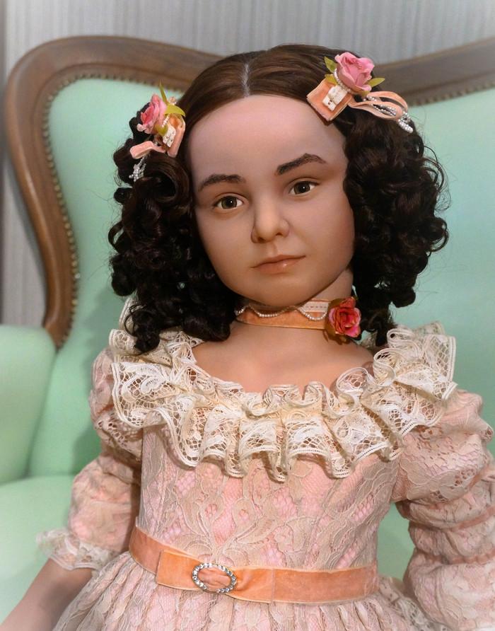 Как сделать волосы для портретная кукла 10