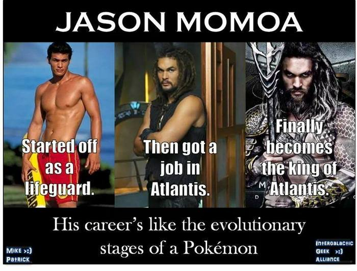 Его карьера выглядит как эволюционные стадии покемона Игра престолов, Кхал Дрого, Джейсон Момоа, Ронон Декс, Звездные врата, Аквамен