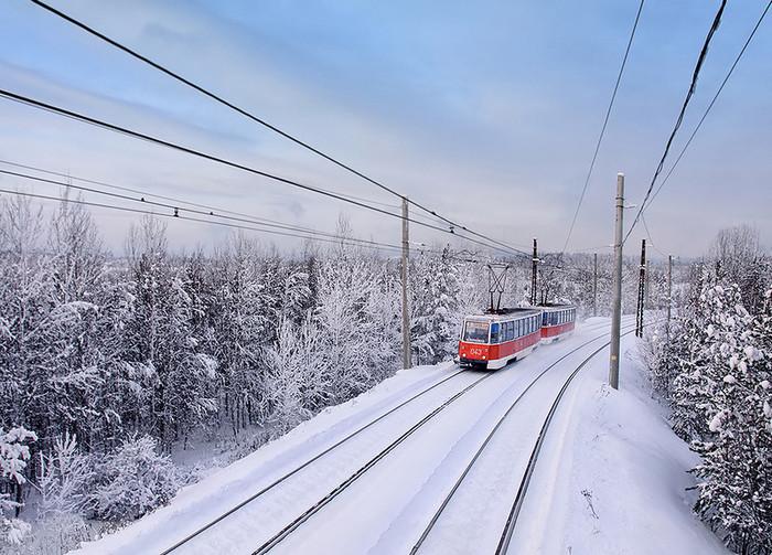 Такое красивое явление как трамвай в тайге. Россия, Усть-Илимск, Трамвай, Тайга, Иркутская область, Фотография, Длиннопост