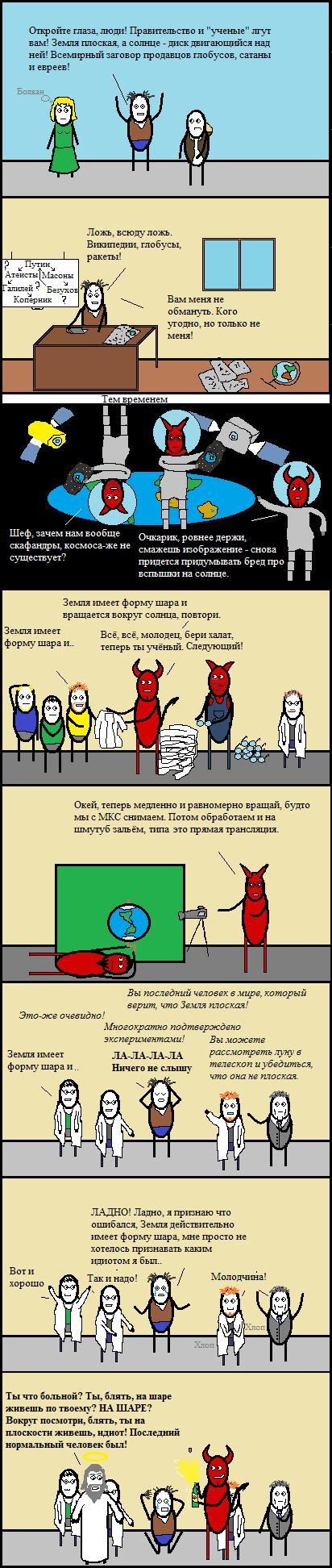 Плоское Cynicmansion, Комиксы, Длиннопост, Плоская земля