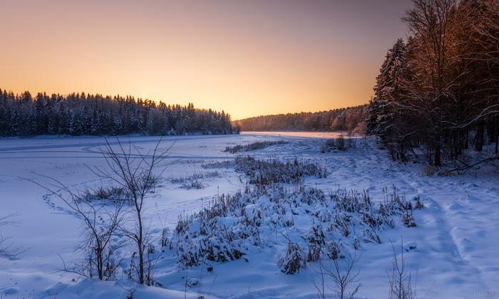 Зима близко. Зима, Закат, Вечер, Снег, Поле, Река, Солнце