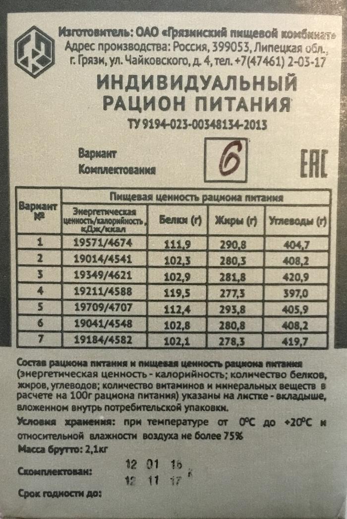 Индивидуальный рацион питания 2017 Рацион, Армия, Русская армия, Длиннопост