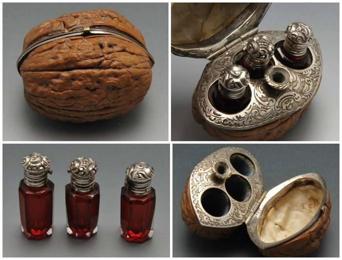 Шкатулка из грецкого ореха для флакончиков с ароматическими маслами, изготовленная во Франции в XIX веке