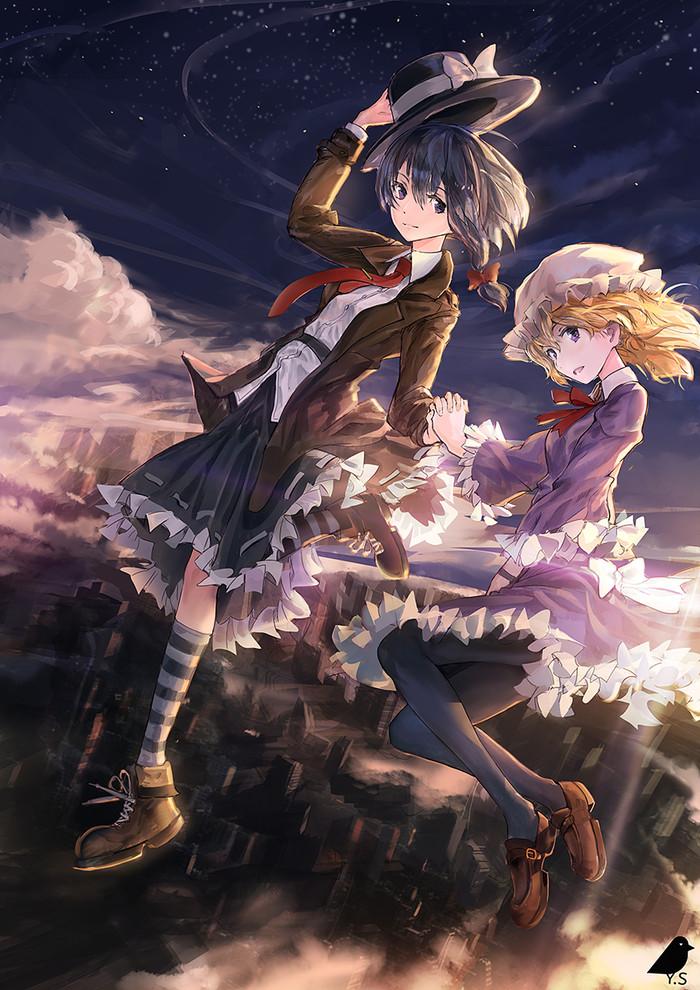 Night Falls Down Аниме, Anime Art, Touhou, Usami Renko, Maribel Hearn, Ты