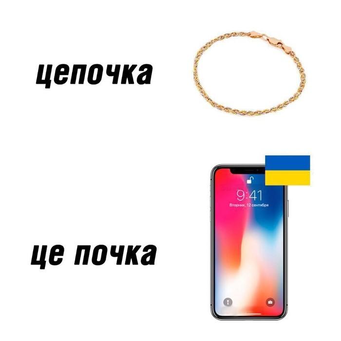 Со смыслом Цепочка, Почки, Iphone, Украинский язык, Привет читающим тэги, Не мое