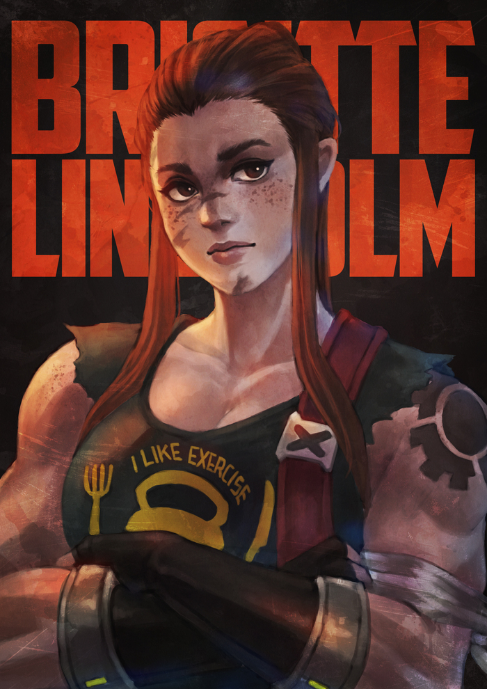 Brigitte Doodle MonoriRogue, Арт, Крепкая девушка, Overwatch, Спортивные девушки, Brigitte, Brigitte lindholm
