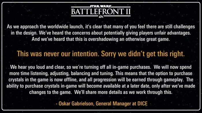 DICE временно удалила микротранзакции из Star Wars Battlefront 2 Star wars, EA games, Star Wars Battlefront, Игры