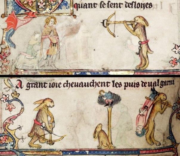 Средневековые кролики-убийцы кролики, средневековье, миниатюра, рукописи, рисунок, шалость, длиннопост