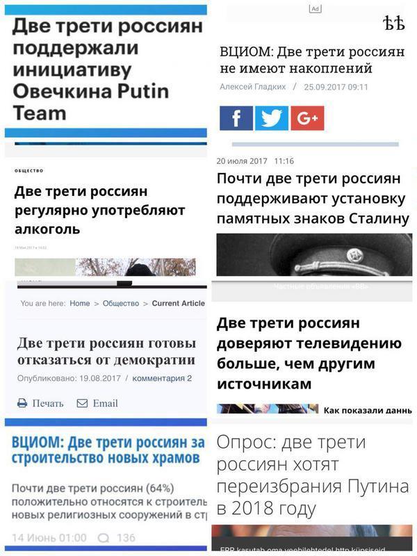 Две трети россиян