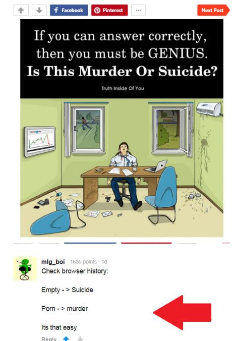 Как определить это убийство или суицид Задача, Криминалистика, Решение, 9gag, Комментарии, Скриншот
