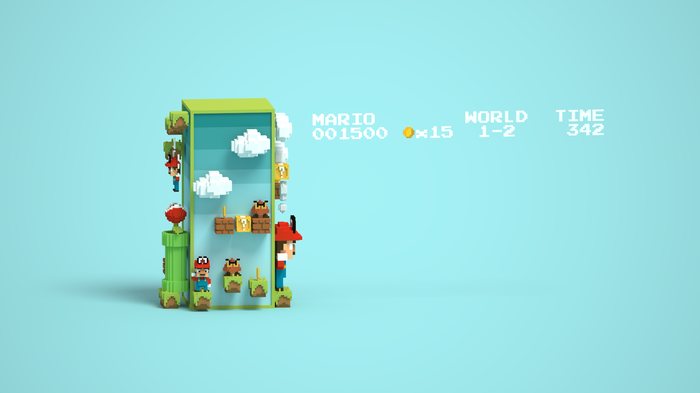 """It's-a me, Mario!"" Gamedev, Pixel art, MagicaVoxel, Low poly, Super Mario, Nintendo, Игры, Длиннопост"