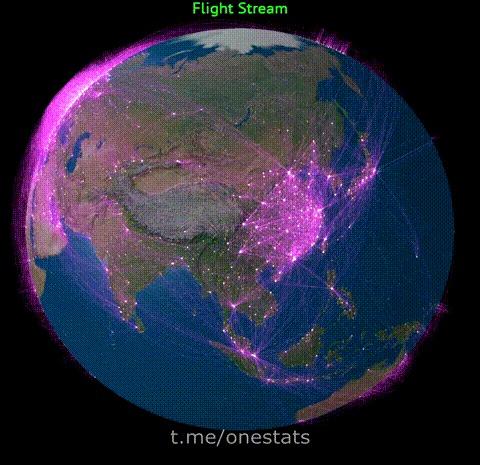 Все авиарейсы Земли Данные, Авиа, Статистика, График, Земля, Гифка