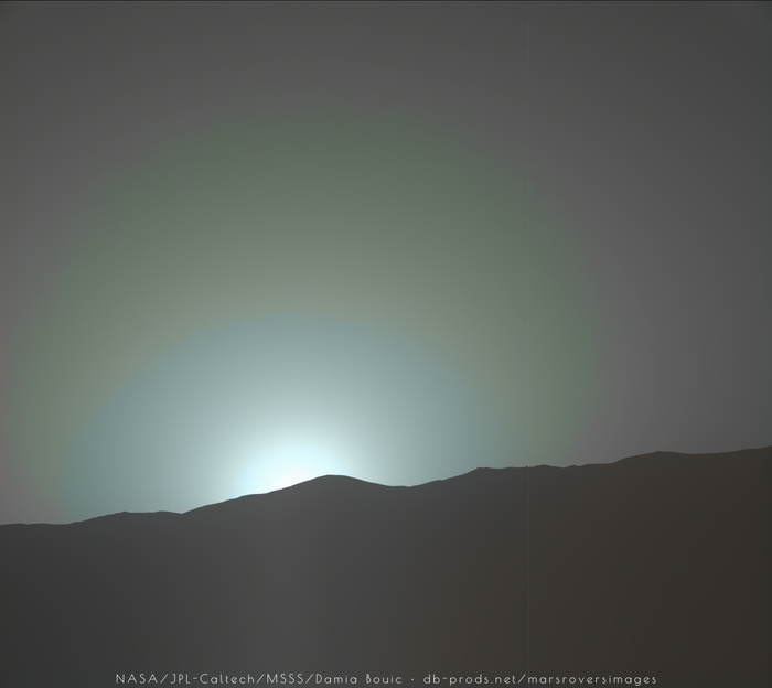 Закат на Марсе Curiosity, марс, закат